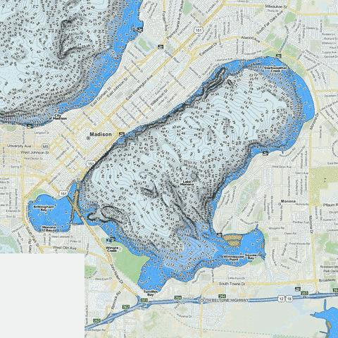 Lake Monona Fishing Map USWI Nautical Charts App - Map of northern wisconsin lakes