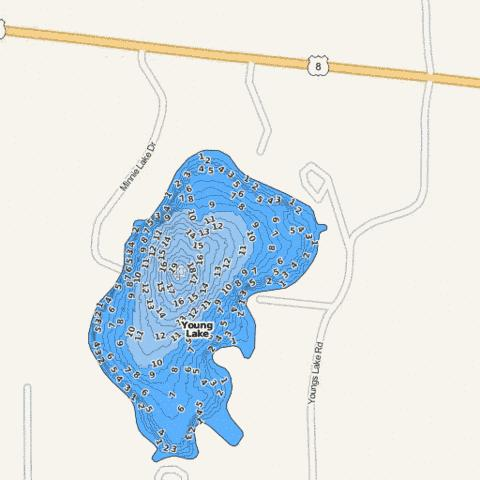 Young Lake Fishing Map - i-Boating App