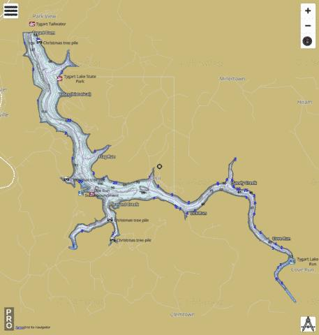 Tygart Fishing Map - i-Boating App