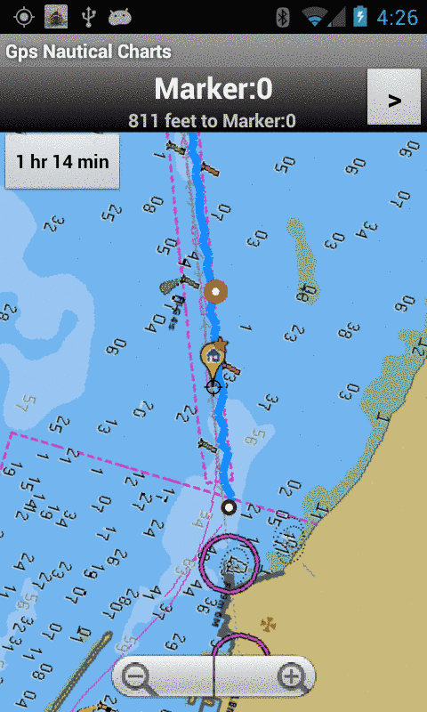 Android Marine Navigation - Route Assistance