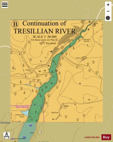 B Continuation of Tresillian River Marine Chart - Nautical Charts App
