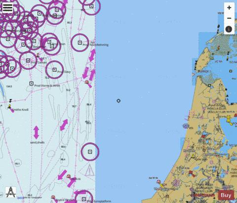 DW Routes to Ijmuiden and Texel Marine Chart - Nautical Charts App