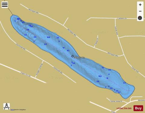 Cathers Lake Fishing Map - i-Boating App