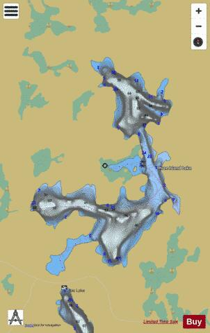 Three Island Lake Fishing Map - i-Boating App