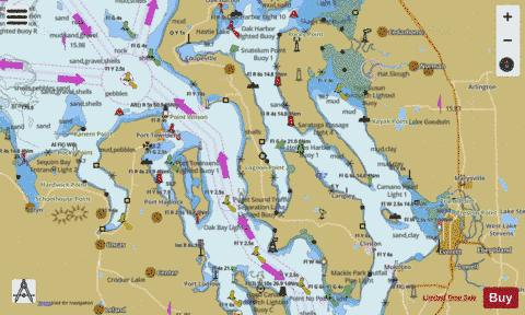 BELLINGHAM TO EVERETT INC SAN JUAN ISLANDS ADMIRALTY INLET Marine Chart - Nautical Charts App