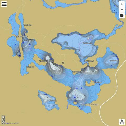 Upper St  Regis Lake Fishing Map - i-Boating App