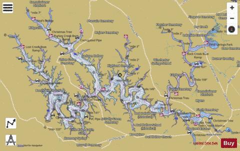 Tims Ford Lake Map Tims Ford Lake (Fishing Map : US_AA_TN_timsford_lake)   Nautical