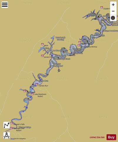 Raystown Lake Map Raystown Lake/Salmon Hole (Fishing Map : US_BM_PA_01202509  Raystown Lake Map