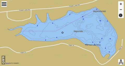 Thayer Lake Fishing Map - i-Boating App