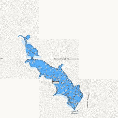 Maysville West Lake (Reservoir) Fishing Map - i-Boating App