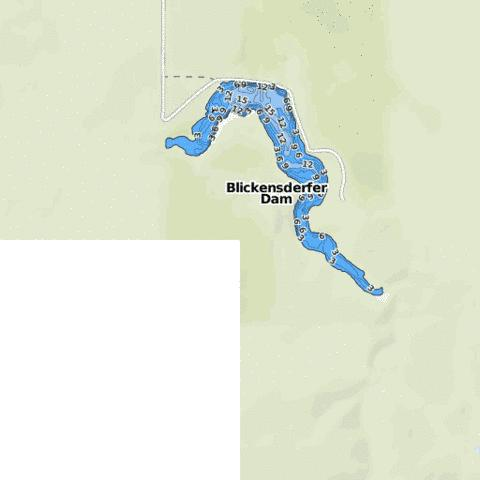 Blickensderfer Dam Fishing Map - i-Boating App