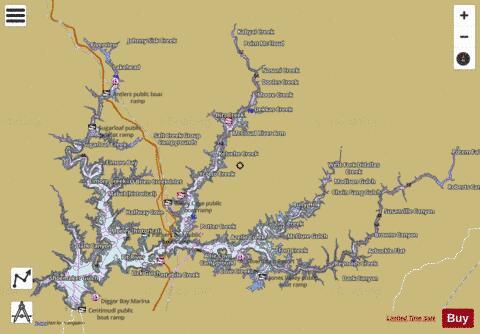 Map Of Lake Shasta Lake Shasta (Fishing Map : US_UB_CA_lakeshasta) | Nautical Charts App