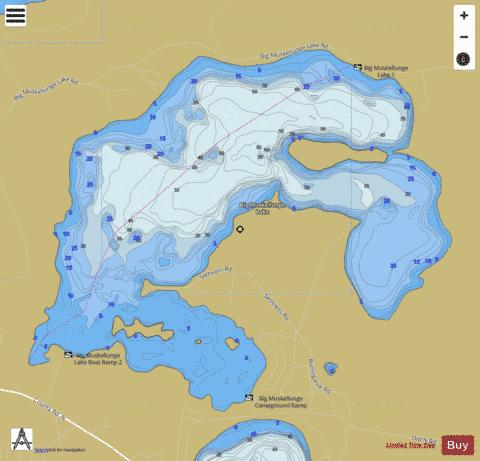 Big Muskellunge Lake Fishing Map - i-Boating App
